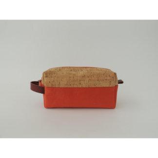 Cork Dash and Orange Canvas Dopp Kit
