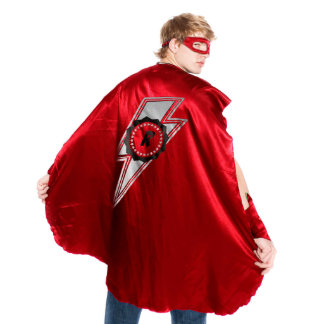 Adult Red Superhero Costume with Lightning Bolt