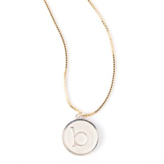 Silver Initial Pendant on Gold Plated Box Chain