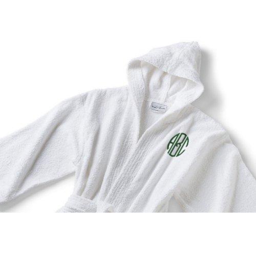 White Cotton Terry Circle Monogram Hooded Bathrobe