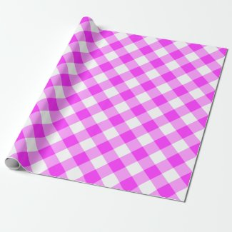 Bold Pink and White Diagonal Gingham Plaid Wrapping Paper