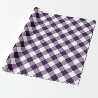 Diagonal Purple and White Buffalo Plaid Wrapping Paper