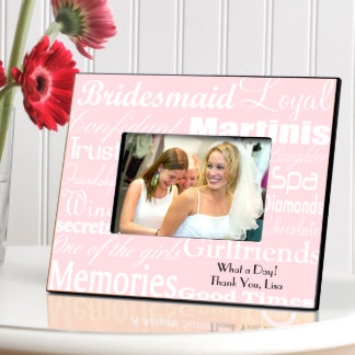 White on Pink Personalized Bridesmaid Frame Picture Frame