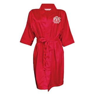 Red, Monogram Bridal Party Robe