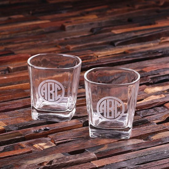 Personalized Set of 2 Monogrammed Whiskey Glasses