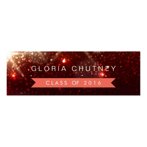 Stylish Sparkles Student Graduation Name Card Double-Sided Mini Business Cards (Pack Of 20)
