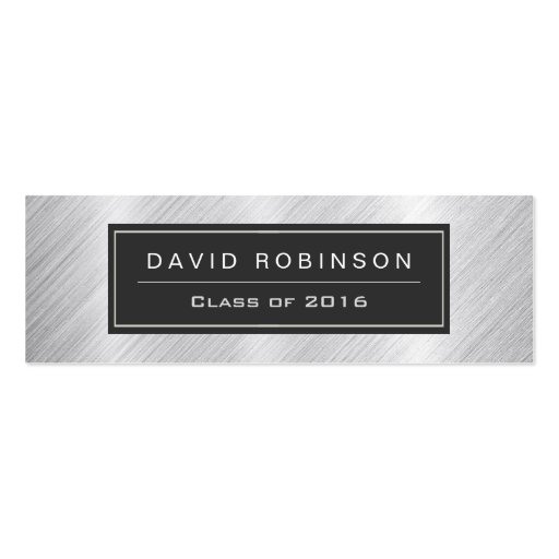 Graduation Name Card Modern Brushed Metallic Look Double-Sided Mini Business Cards (Pack Of 20) (front side)