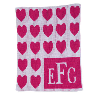 Monogrammed Pink & White, Hearts Blanket