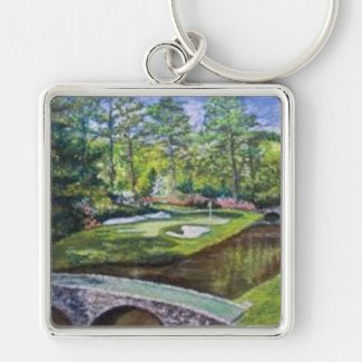 Large keychain with a handpainted golf image
