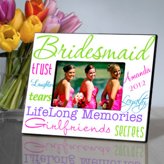 Personalized Bold and Bright Bridesmaid Picture Picture Frame