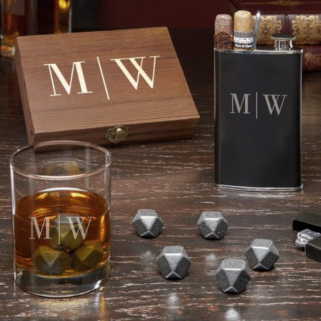 Monogram Set w/ Whiskey Glass, Stones & Hip Flask