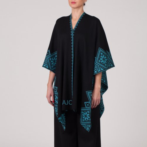 Black  Green Merino Wool Monogram Nordstar Poncho