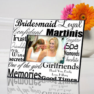 Personalized Black on White Bridesmaid Frame  Picture Frame