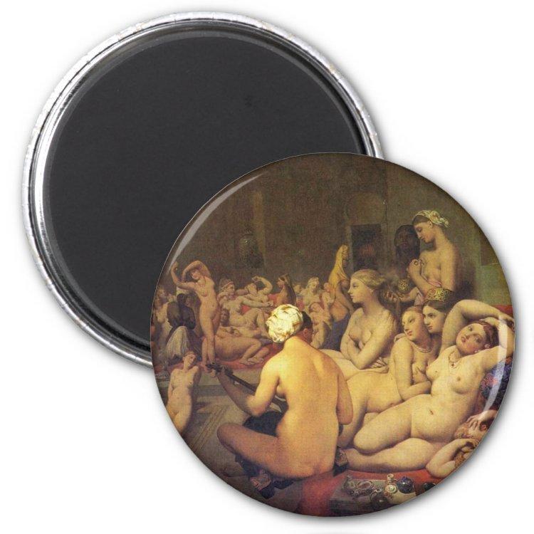The Turkish Bath (Tondo) By Ingres Jean Auguste Do 2 Inch Round Magnet