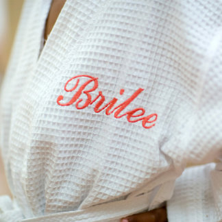 White Waffle Robe with Personalized Coral Name