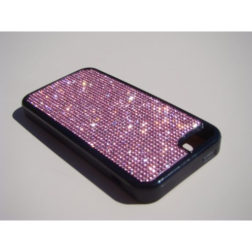iPhone 5c Black Rubber Case - Pink Crystals