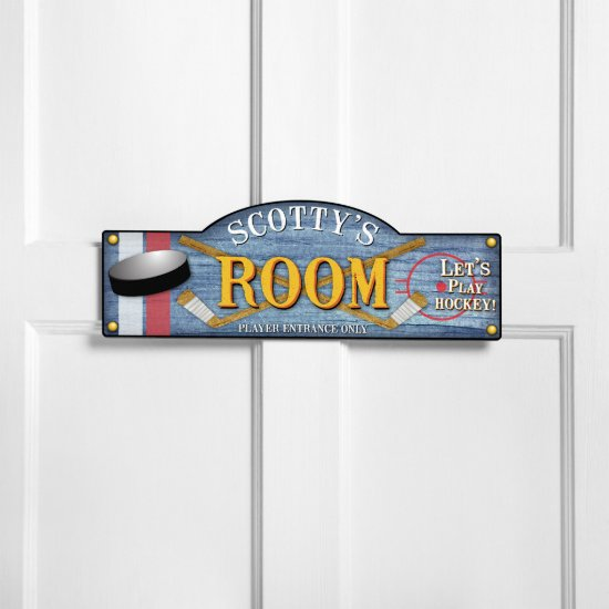 Personalized Kids Bedroom Ice Hockey Sign
