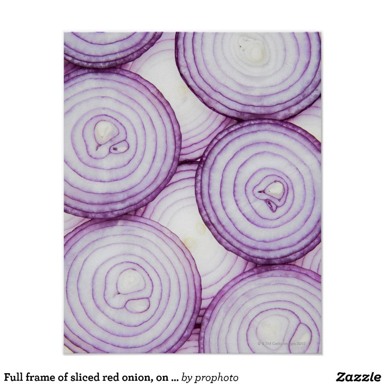 Full frame of sliced red onion, on white poster