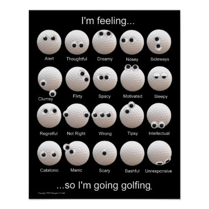 Golf Balls Emotions Chart Poster