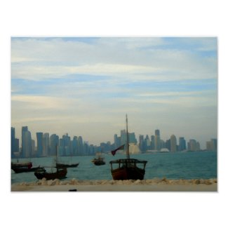 Dhows in Doha port Poster