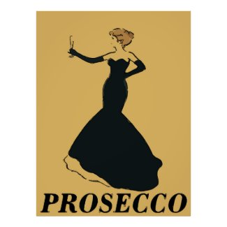 Vintage Style Prosecco Woman Poster