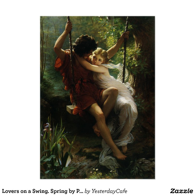 Lovers on a Swing. Spring by Pierre Auguste Cot Poster