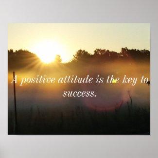 Positive Attitude Inspirational Sunrise Poster