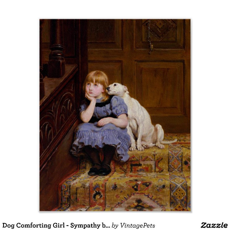 Dog Comforting Girl - Sympathy by R.Briton Poster