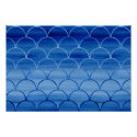 Prussian Blue Watercolor Scale Pattern