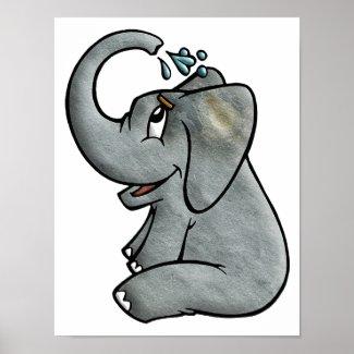 Elephant Bathtime Poster