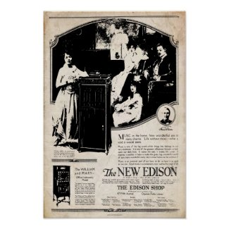 Vintage 1917 Edison Phonograph Poster