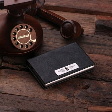Brown Etched Monogram Leather Business Card Holder