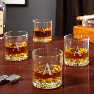 Buckman Initial Old Fashioned Glasses, Set of 4