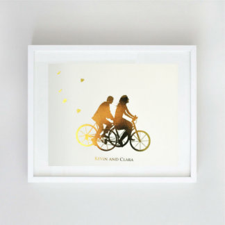 Customized Gold Foil Bicycle Silhouette Print