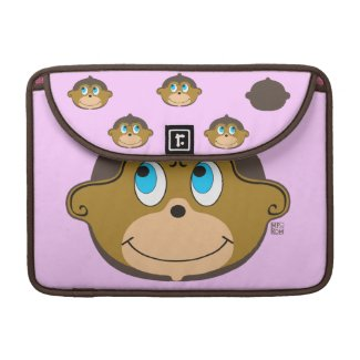 Cute smiling monkeys pattern, girly pink sleeve for MacBook pro