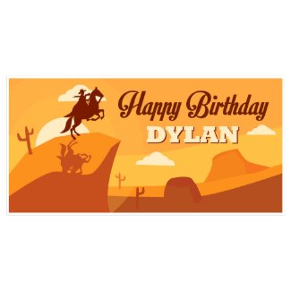Orange Desert Western Birthday Banner Party Decor