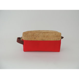 Cork Dash and Red Canvas Dopp Kit