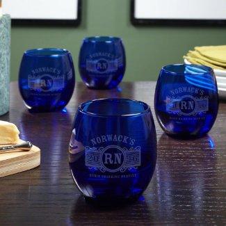 Set of 4 Cobalt Marquee Monogram Wine Glass