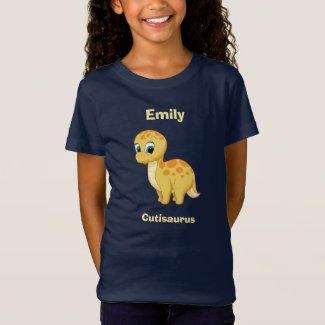Cute Baby Brontosaurus Dinosaur Cutisaurus Yellow T-Shirt