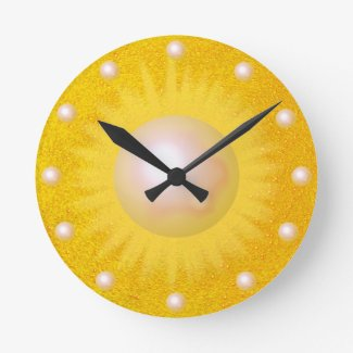 Sunshine Sun Golden Yellow Sunny Bright Round Clock