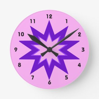 Pink and Purple Star Clock