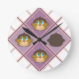 Cute smiling monkeys plaid pattern girly pink round clock