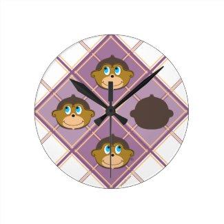 Cute smiling monkeys plaid pattern girly pink round clock