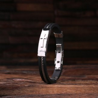 Cute Black Engraved Cross Leather & Steel Bracelet