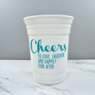 """Customizable Reuseable Wedding Party Cup """"Cheers"""""""