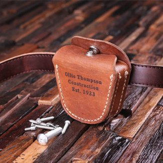 Personalized Engraved Leather Tool Belt Pouch