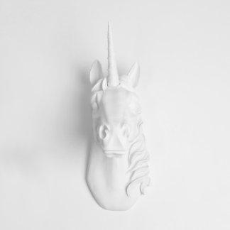 White Wall Décor Faux Unicorn Head