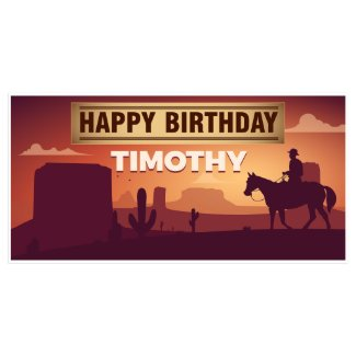 Sunset Western Desert Birthday Banner Party Decor