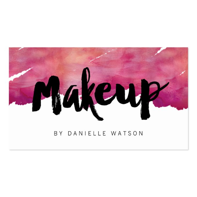 Watercolor Calligraphy Makeup Artist Business Card (front side)