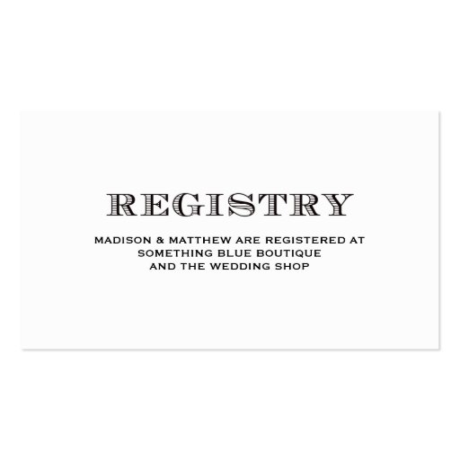 Be Married | Wedding Registry Card Double-Sided Standard Business Cards (Pack Of 100)